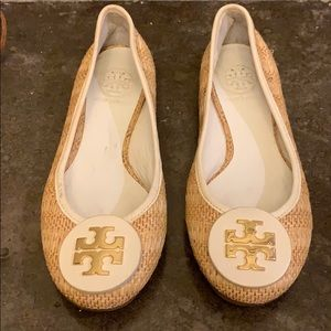 Tory Burch Straw and White Flats.